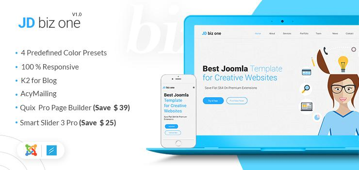 JD BizOne Review – OnePage Joomla Template from JoomDev