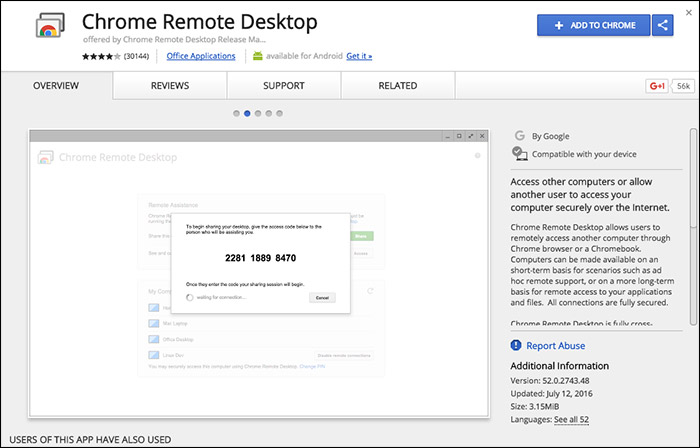 Download Chrome Remote Desktop