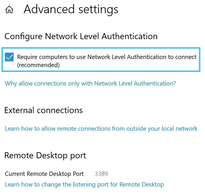 Require computers to use Network Level Authentication to connect